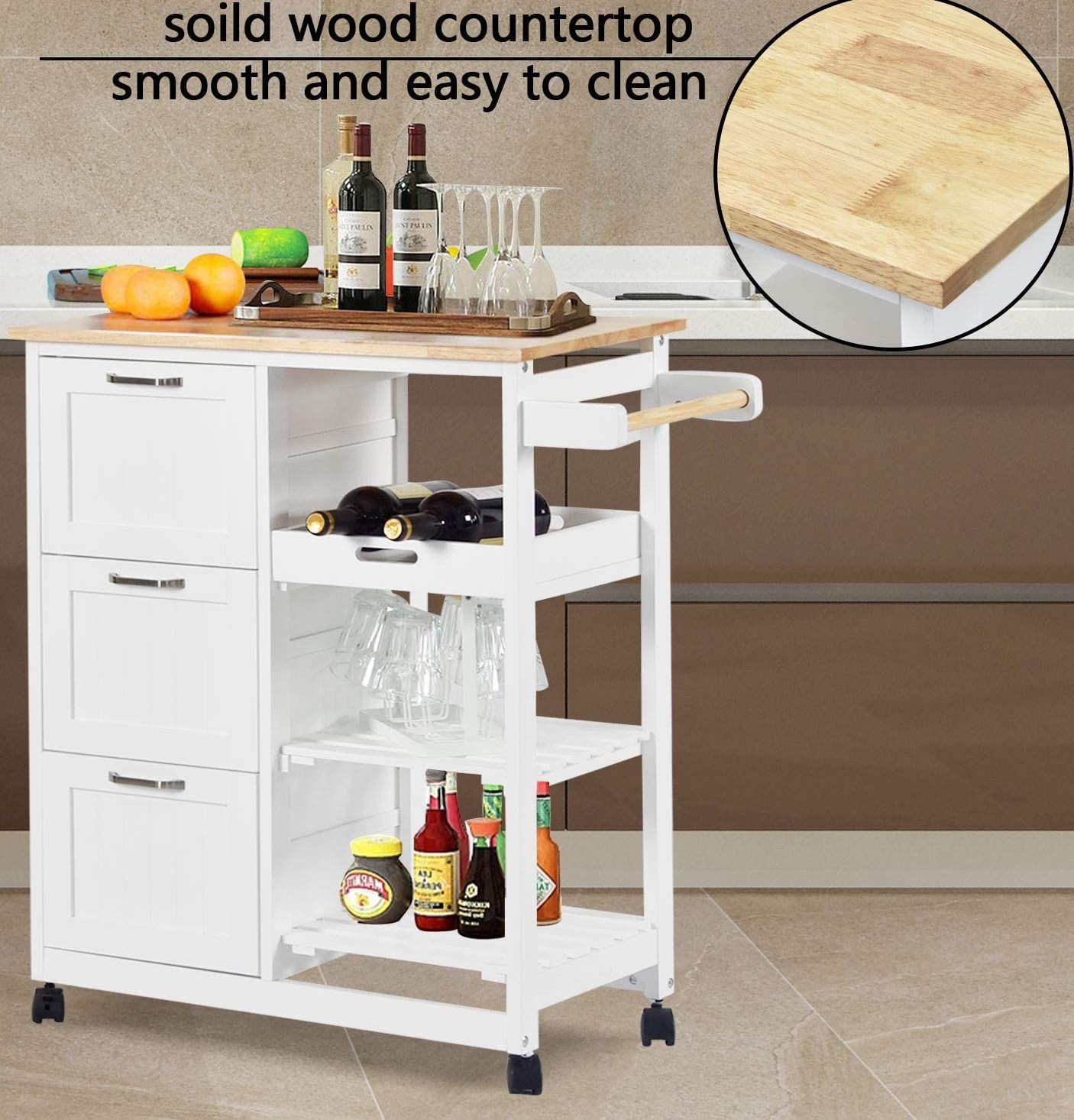 charaHOME 3-Tier Holder Kitchen Island Cart