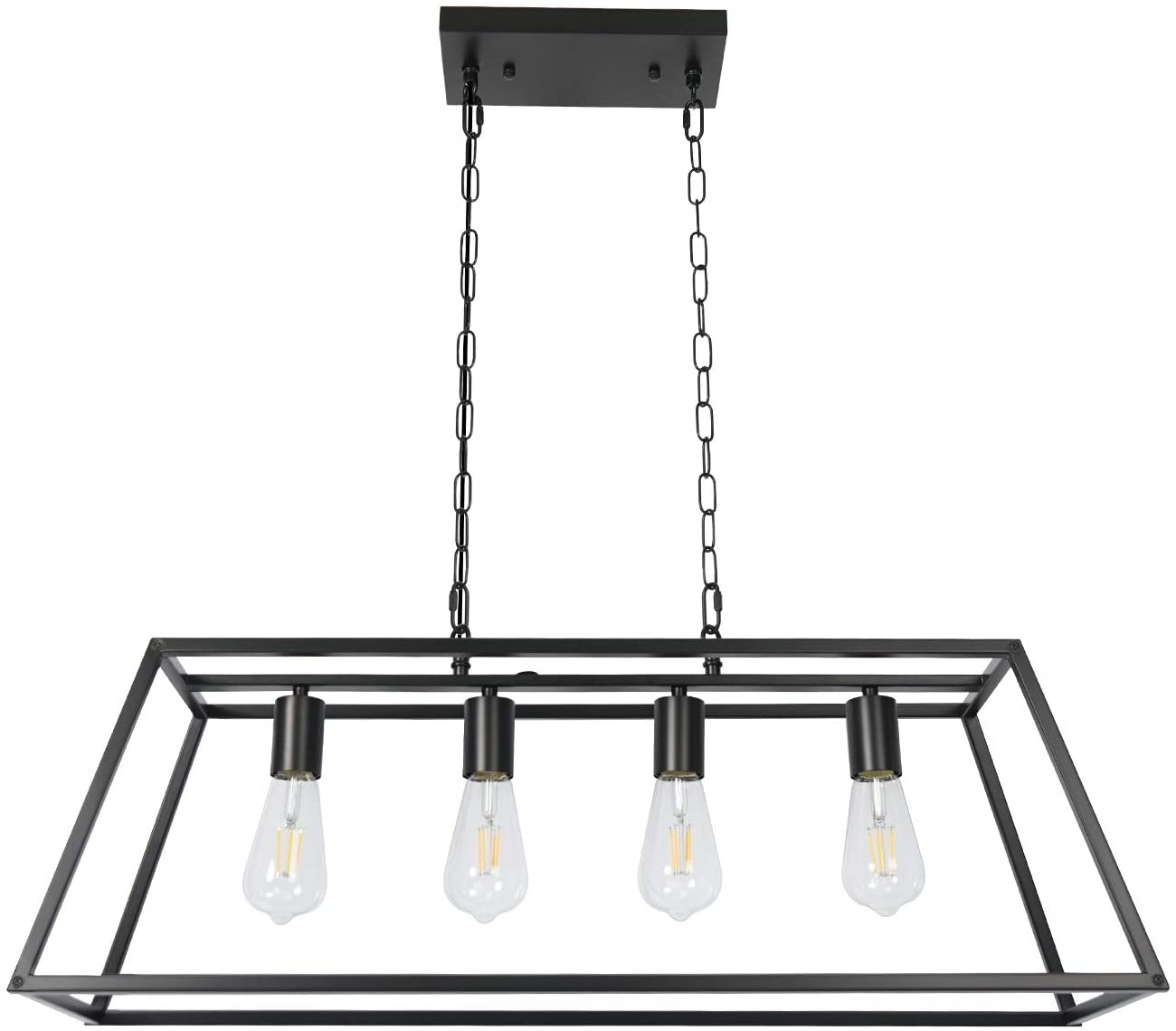 4-Light Black Industrial Farmhouse Ceiling Light for Kitchen