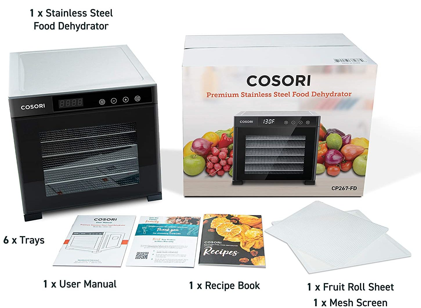 COSORI 6 Stainless Steel Trays Premium Food Dehydrator Machine (Digital Timer and 50 Free Recipes)