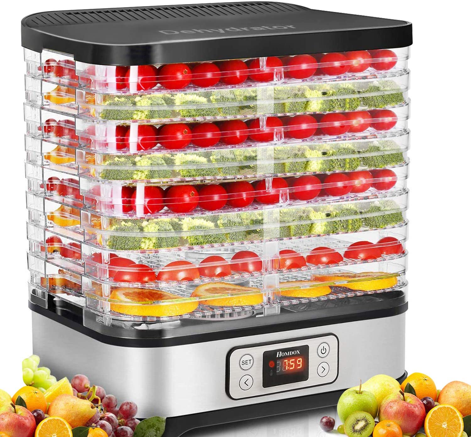 Homdox 8 Trays Food Dehydrator Machine with Temperature Control and Digital Timer