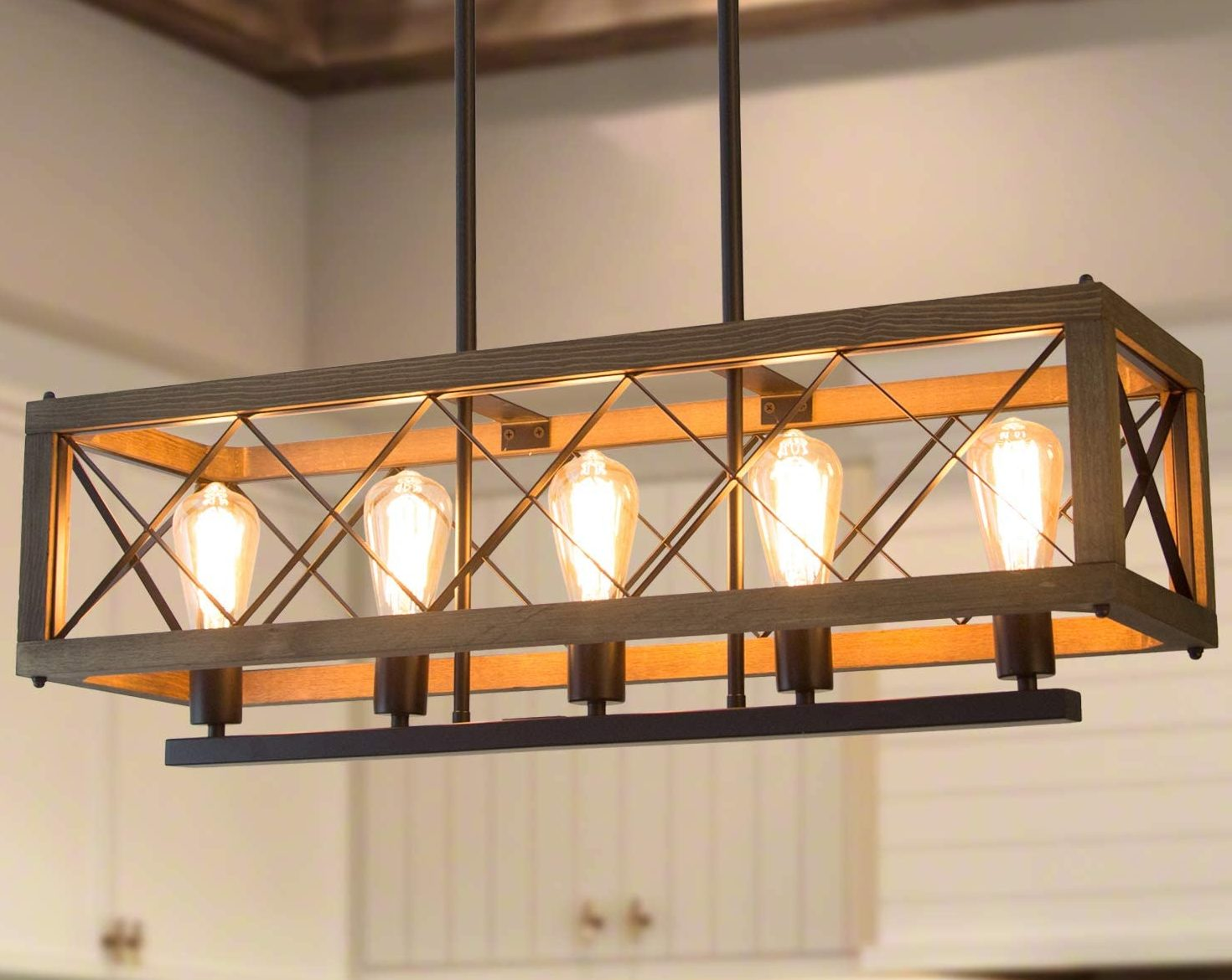 Rustic Modern Farmhouse Chandelier with Rectangular Wood