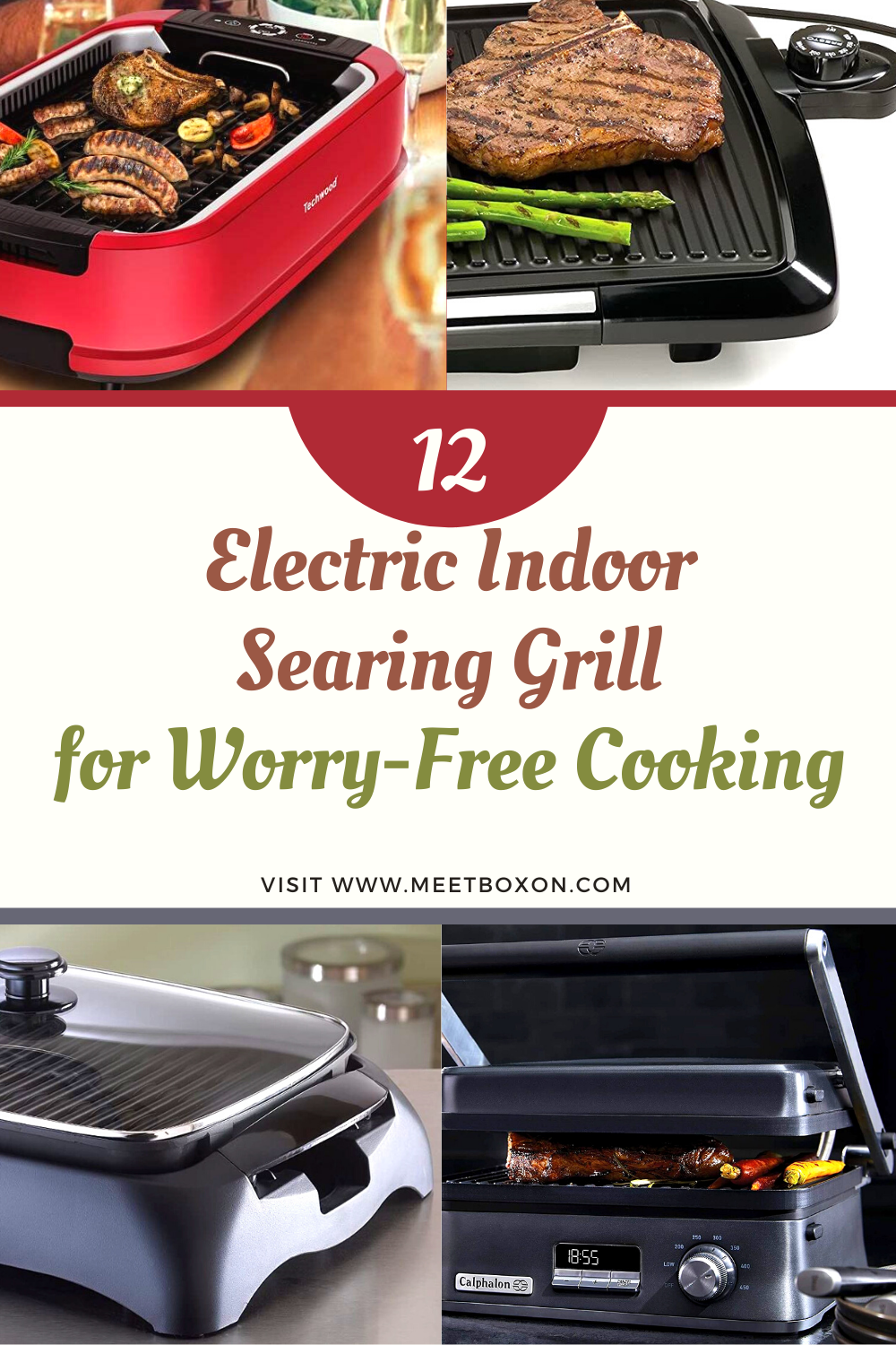 12 Electric Indoor Searing Grill for Worry-Free Cooking