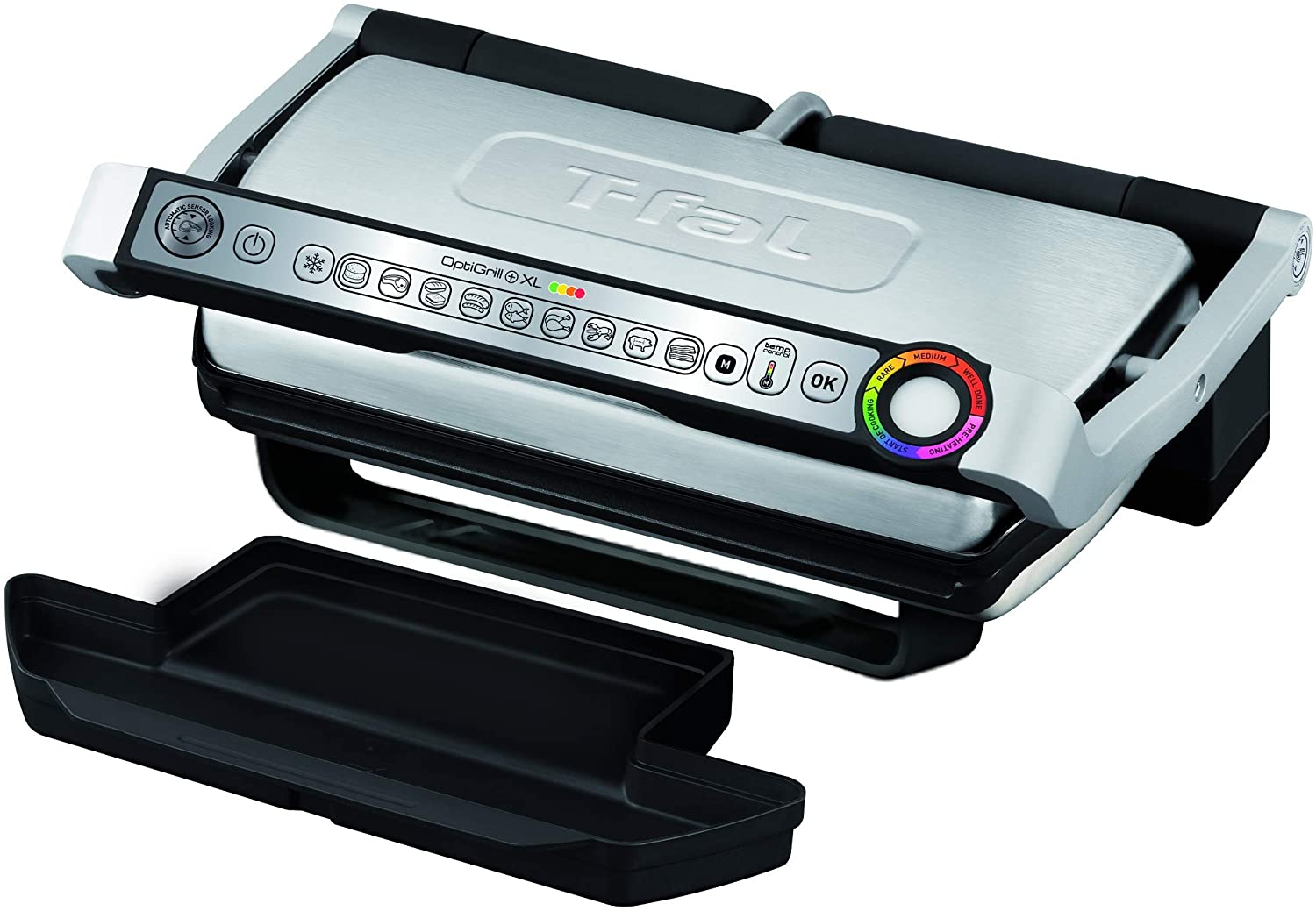 T-fal GC722D53 OptiGrill XL Large Indoor 1800W Electric Grill (Stainless Steel, Silver)